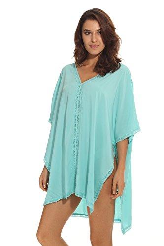HIMONE Damen Solide übergroß Strandponcho Sommer Kleid Bikini Cover Up Blau