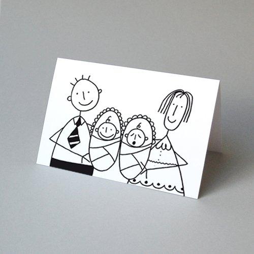 Glückwunschkarte für Zwillinge von Franz Basdera, Klappkarte inkl. einem sonnengelben Umschlag