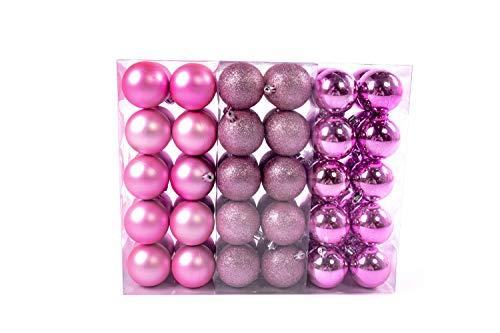 Lifestyle & more esclusive sfere per albero di natale set 61 pezzi in rosa con solo sfere grandi 6 cm con punta a stella e pendenti abbinati