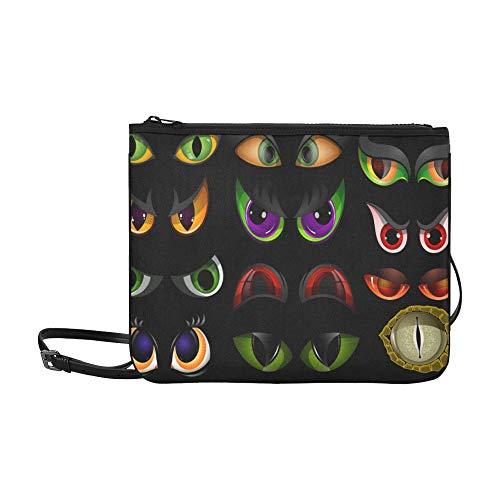 Animals Eyes Glow In The Dark Pattern Benutzerdefinierte hochwertige Nylon-dünne Clutch-Tasche Umhängetasche mit Umhängetasche