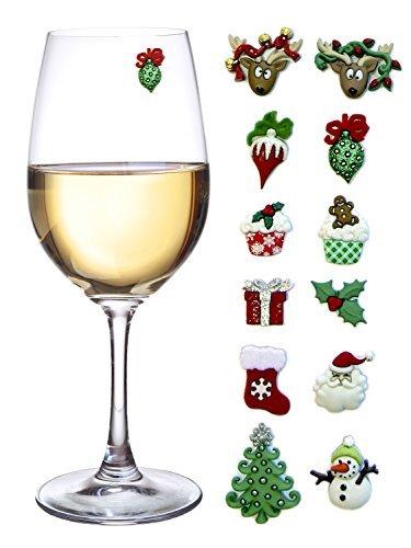 Weihnachts Weinglas Magnetische Verzierung, 12 Stück Weinglas Dekoration Set (Wein Glas Marker Set Mit 12)