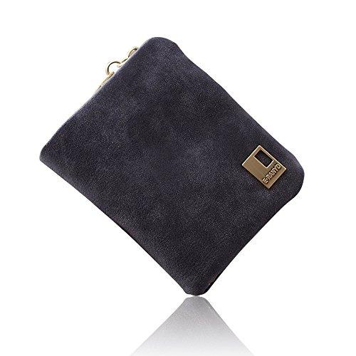 Woolala Donna Nabuk Breve Portafogli Trifold Mini Borsa Slot Multi Card Con Tasca Con Zip Monete, Caffè Black