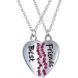 Fengteng Corazón Púrpura con las Piezas de los Mejores Amigos Amistad Collar de Diamantes de Costura del Empalme de dos