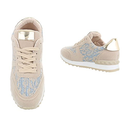 Ital-Design Scarpe da Donna Sneaker Piatto Sneakers Low beige G-100