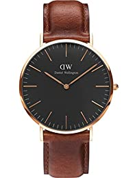 Daniel Wellington Classic Herren-Armbanduhr Analog Quarz Leder - DW00100124