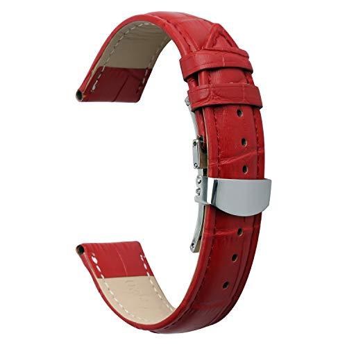 Ersatzarmband 14mm Uhrenarmband Lederarmband Herren Damen mit Metallschließe Schnalle rot