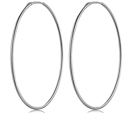 PAPOLYOrecchini a cerchio ARGENTO 925 + Pelle argentata pulita 30X17 GIFT Diametro: 25-30-35-40-45-50-60-75-80mm (80 mm)