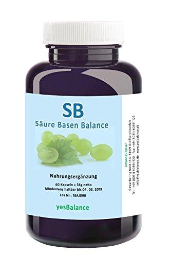 SB - Säure und Basen Balance - yesBalance - 60 Kapseln mit Traubenkernpulver (OPC ca. 9,5%), Löwenzahn, Fenchel, Chlorellapulver, Kalzium (Calcium), Magnesium, Zink, Selen