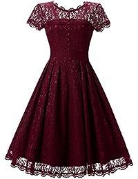 Miusol Damen Elegant Sommer Spitzenkleid Cocktailkleid Vintage 50er Jahr Abendkleid Schwarz Gr.S-3XL