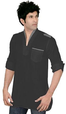 Indian Clothing Fashion Shirt Mens Short Kurta Dress Linen Cotton (Black, XL)