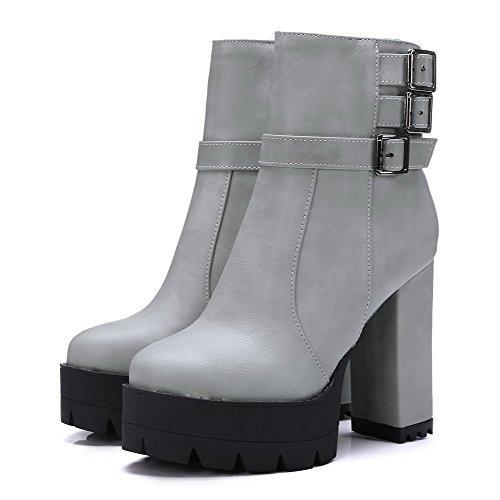 VogueZone009 Damen Schließen Zehe Blend-Materialien Niedrig-Spitze Hoher Absatz Stiefel Grau-Schnalle