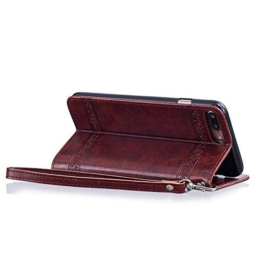 """MOONCASE iPhone 7 Plus Coque, [Style Rétro] Durable PU Cuir Flip Housse TPU Souple Anti-dérapante Shock Absorption Protection Etui Case pour iPhone 7 Plus 5.5"""" Noir Vin Rouge"""