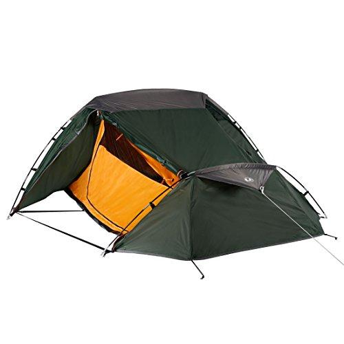 Ultrasport Campingzelt für 2 Personen, Ideales Zelt für Festival, Camping und Trekking, Lieferung Inklusive Tragetasche, Farbe: grün/Orange