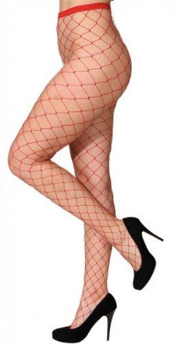 Strumpfhose: Netzstrumpfhose mit großem Netz, rot