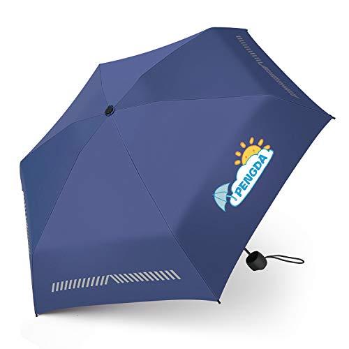 chirm - Safety Reflex Kinderschirm Faltbarer Leichter Kleiner Taschenschirm, Mini Reflektierender Reiseschirm für Jungen und Mädchen Schule - Blau ()