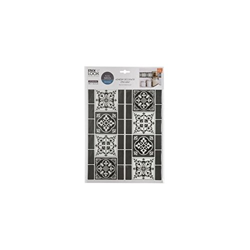 AC-Déco Sticker Effet Frise sur carrelage - L 38,5 x l 25,5 cm - Noir