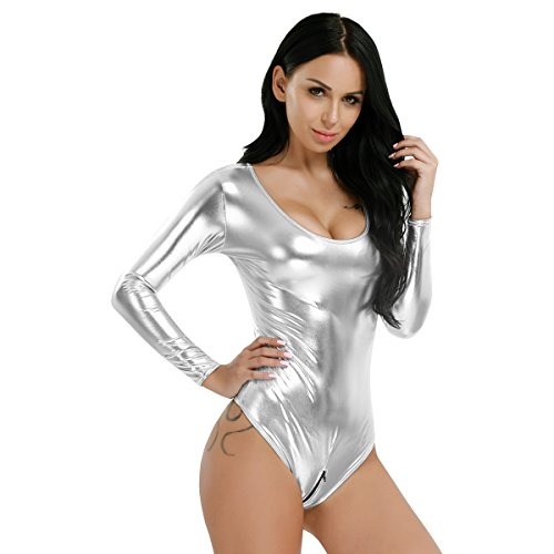 CHICTRY Shiny Damen Body Bodies Langarm Rundhals