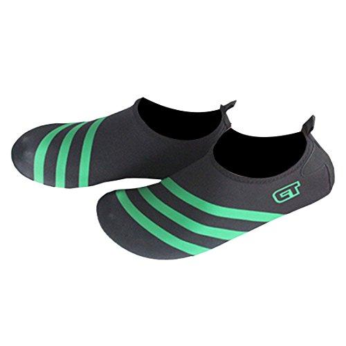 Partiss Unisex Wasser Schuhe Barfuss Skin Schuhe fuer Run Dive Surf Swim Beach Yoga Paste Haut Weiche Strandschuhe Gruen A