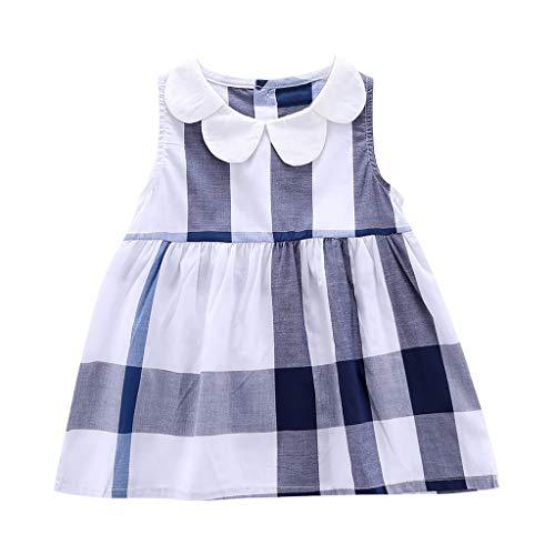MRULIC Baby-Mädchen Kleid T-ShirtRundhals Blusenkleid Karierte ärmellose Tops Kleid 1-5 Jahre Sommerkleid Weste A-Linie Knielangen Kleid(Blau,2-3 Jahre) (Kleider Online Erstkommunion)