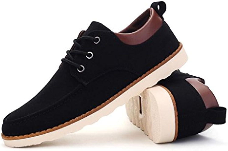 GAOLIXIA Herren Freizeitschuhe Frühling Sommer schnüren sich britische flache Schuhe Business Casual Schuhe schwarz