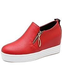 Easemax Damen Rund Toe Dicke Sohle Plateau Keilabsatz Loafer Slipper Schuhe Weiß 34 EU JHoQHZ1wHi