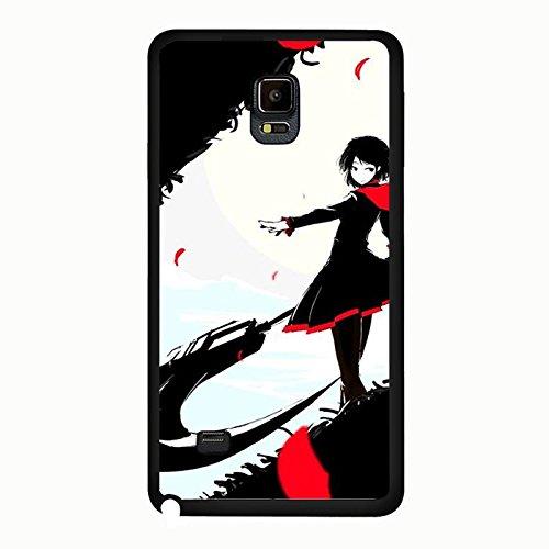 Coque Samsung Galaxy Note 4 Phone Case RWBY Noir Theme Red Girl Unique Design Cover,Cas De Téléphone