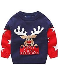 Hawkimin Kleinkind Mädchen Jungen Kleinkind Pullover Winter Weihnachten Strick Elch Hirsche Muster Knit Sweater Rundhals Langarm Christmas Outwear Kinder Bekleidung Pullover Outfits