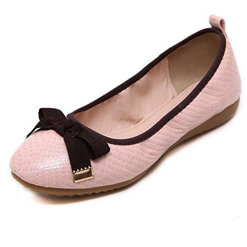 Damen Ziehen Auf Schließen Zehe Lackleder Flache Schuhe, Schwarz+Schnalle, 36 AgooLar