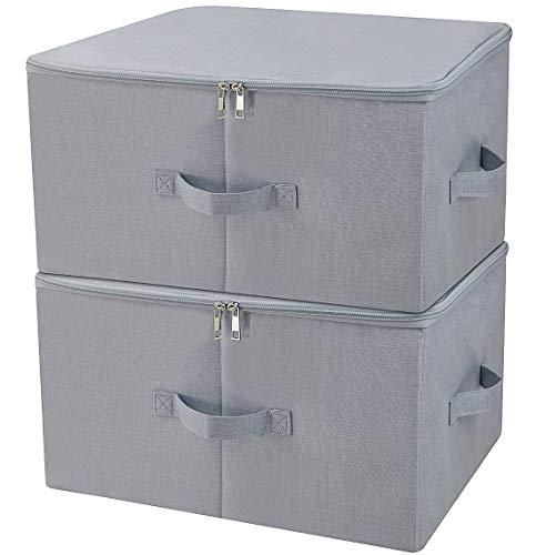 Iwill create pro scatole porta abiti guardaroba antipioggia con coperchio con cerniera, tessuto traspirante e design collassabile per organizzazione abbigliamento stagionale, grigio chiaro, 2 pezzi