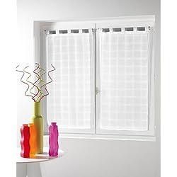 Douceur d'Intérieur Paire Droite Voile Sable Candide Polyester Blanc 2X 60 x 160 cm
