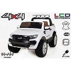 RIRICAR Ford Ranger Wildtrak 4X4 LCD Luxury, Véhicule électrique, Écran LCD, Blanc - 2.4Ghz, 2 x 12V, 4 X Motor, télécommande, Deux Places en Cuir, Roues EVA Bluetooth