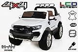 RIRICAR Ford Ranger Wildtrak 4X4 LCD Luxury, Elektro Kinderfahrzeug, LCD-Bildschirm, Weiss - 2.4Ghz, 2 x 12V, 4 X Motor, Fernbedienung, 2-Sitze in Leder, Soft Eva Räder, Bluetooth