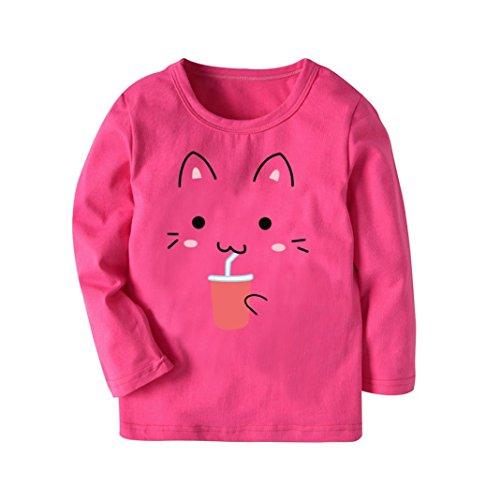 zeT-Shirt Tops Neugeborene Babykleidung Kleinkind Bluse Kinderbekleidung Babykleider Mädchen Junge Rundhals Langarmshirts 2-7Jahre (Heißes Rosa, 4T) (Heißes Halloween-kostüm Ideen)