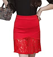 Tootlessly Women's Oversized Lace Patchwork Wear to Work Midi Skirt Red XS