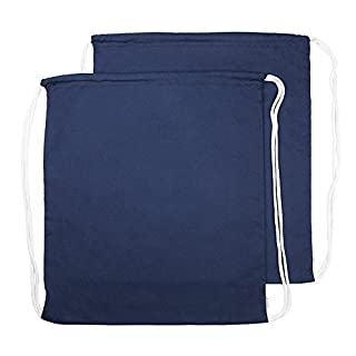 Augbunny 100% Cotton Canvas Drawstring Backpack Gym Sack pack 2-Pack (Navy, Large)