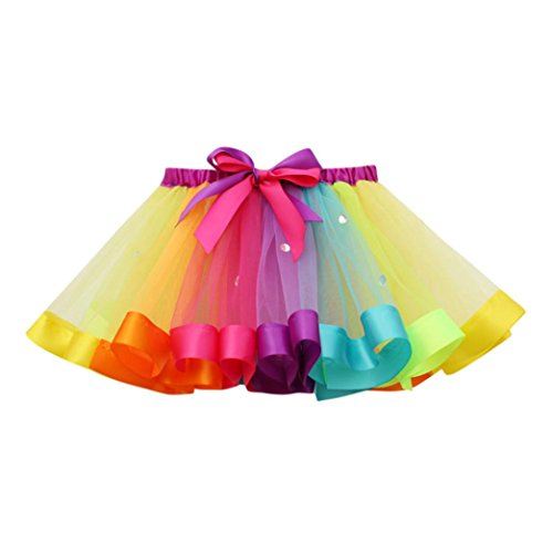 HUIHUI Kleid Mädchen, Toddler Mädchen Tutu Tüll Tanz Ballett Regenbogen Rock Sommerkleid Party Prinzessin Dress Casual T-Shirt Kleid Frühlings Herbst Cocktailkleid (M (4-7Jahr), Multicolor)