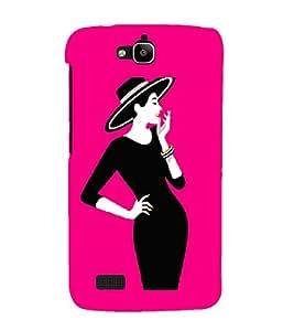 PrintVisa Fashion Happy Girl Black Dress 3D Hard Polycarbonate Designer Back Case Cover for Huawei Honor Holly