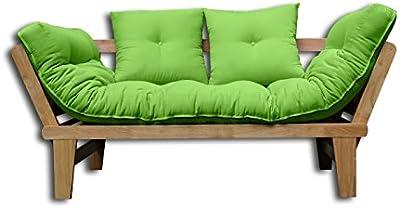Sofá cama Sésamo, Natural, Futón Verde, 200x82x32 cm