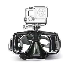 Senhai sous-marine Plongée en apnée Masque de montage de natation Lunettes de sport Caméra pour GoPro Hero3 Hero4 + Hero3 - Noir