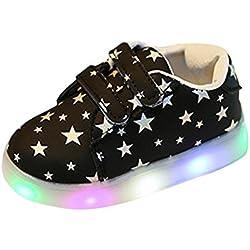 Zapatos de Bebé, Zolimx Zapatillas de Bebé de Moda LED Niño Luminoso Pequeño Casual Colorido Zapatos Ligeros (24 (2.5~3 años), Longitud: los 14.5CM, Negro)