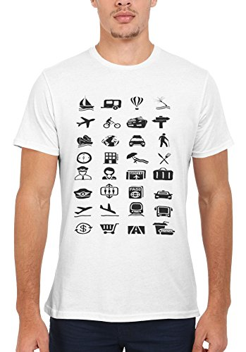 Travel Icons Backpacking Holiday Novelty Men Women Unisex Top T Shirt-L (Womens Icon-t-shirt)