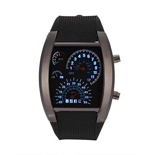Montres pour les hommes, mâle montre à quartz Rectangle bracelet en plastique Date Simulated Racing Dial montre-bracelet(Black Case Strap)