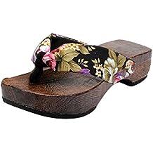 UOMOGO® Pantofole Zoccoli Cosplay Sandali Di Legno Infradito Donna Zoccoli Di Legno Rotondo, Asia 36-40