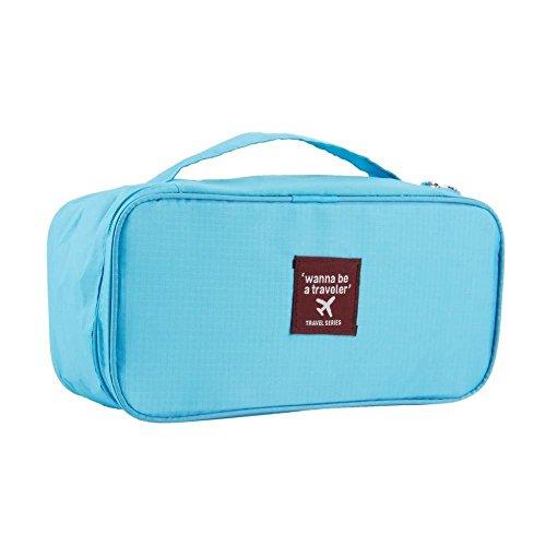 grandey imperméable Femme portable Voyage Soutien-gorge Sous-vêtements Lingerie Organiseur Sac de Maquillage Trousse de Toilette Wash Étui de rangement Rose bleu 28cm