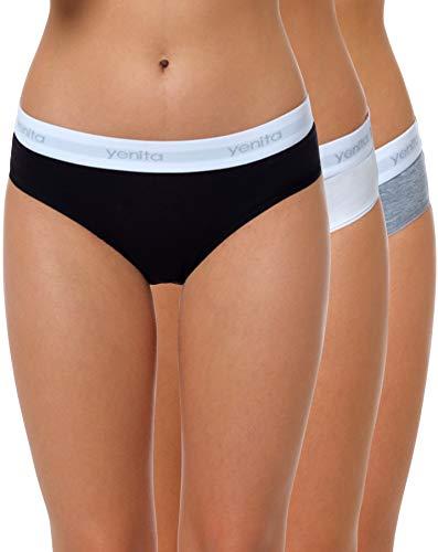 Yenita 3er Set Damen Underwear Modern-Sports-Collection, Hüftslip, Gemischt (Schwarz/Weiss/Grau), Gr. M