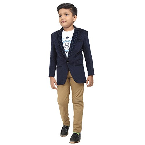 Naveens Navy Blue Cotton Party Wear Slim Fit Blazer For Boys