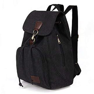Mochilas de Lona para Mujer Ligero Casual Vintage Backpack Antirrobo con Zipper Hebilla Daypack De Escuela Viaje Negro Caqui Marrón Azul