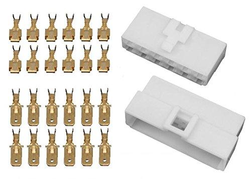 10x Gehäuse 12 polig Stecker 6,3mm Flachsteckhülsen Flachstecker Steckergehäuse