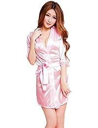 LuckES Mujer Pijama Kimono Satén Seda de Manga Elástico Estilo de Encaje Elegantes Suaves Ropa De