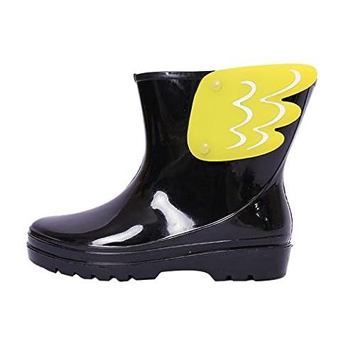 Hzjundasi Enfants Imperméable Slip-On Bottes de Pluie Filles Garçons Mignon ailier Cheville Bottes Pluie Chaussures Chaussures d